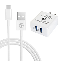 2 in 1 Dual USB 2.1 Amp Type-C Travel Charger White